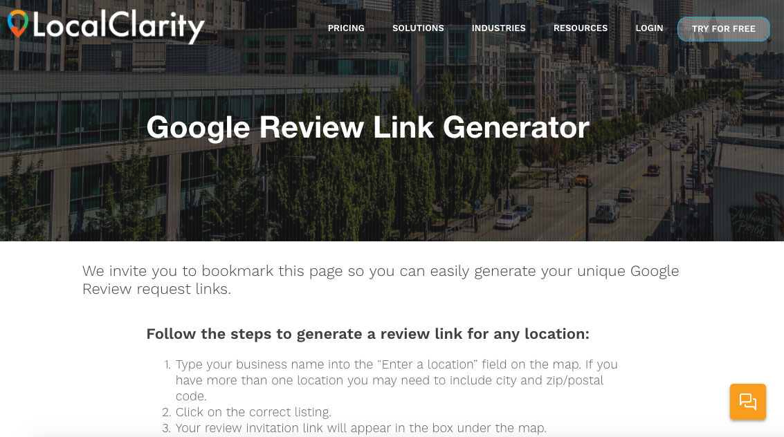 Go to LocalClarity's Google Review Link Generator tool.